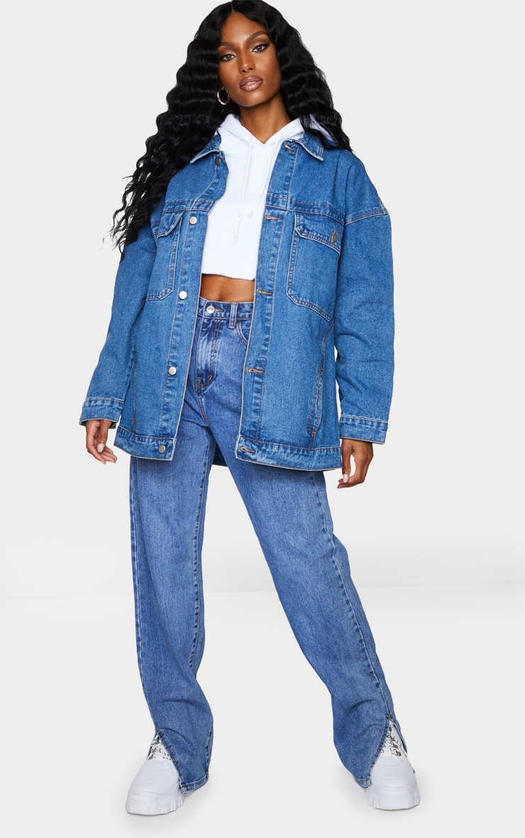 Mid Wash Oversized Pocket Detail Denim Shacket 3