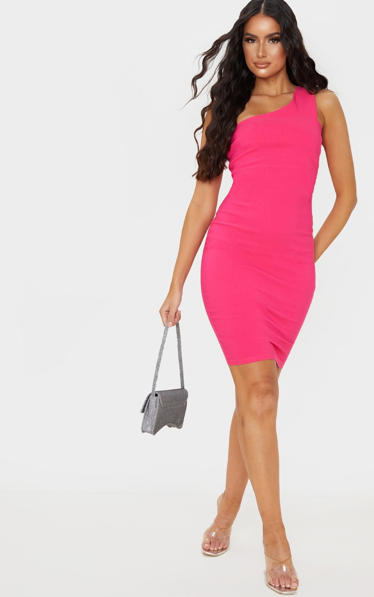 Hot Pink Woven Stretch One Shoulder Midi Dress 4