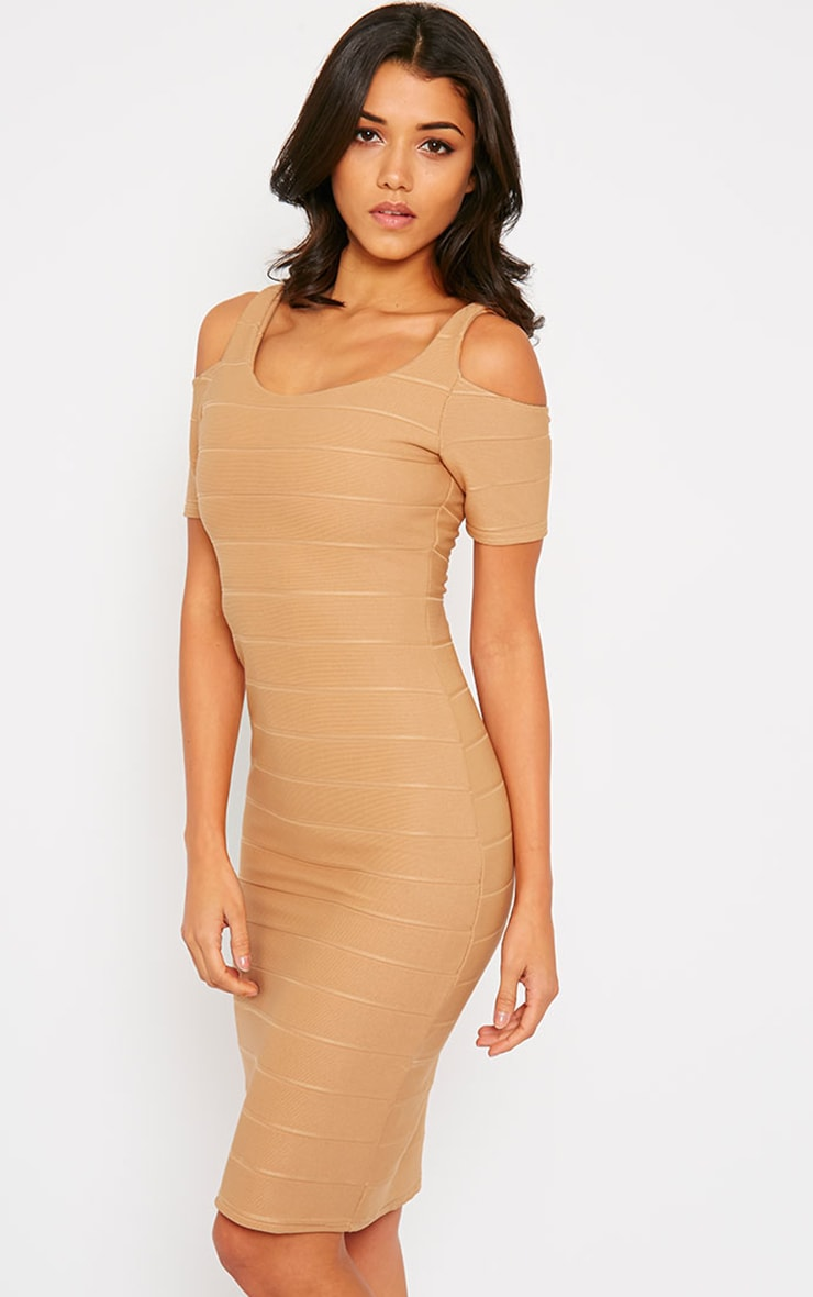 Bea Camel Cold Shoulder Bandage Dress 1