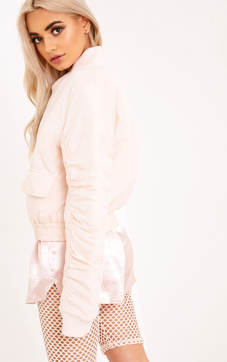 Deserae Nude Cropped Statement Zip Pull Bomber Jacket 2