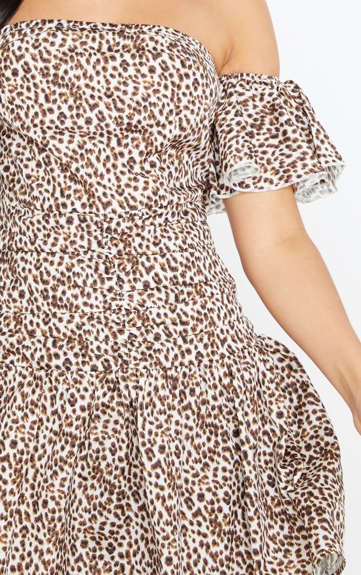 Tan Leopard Print Bardot Pleated Waist Skater Dress 5