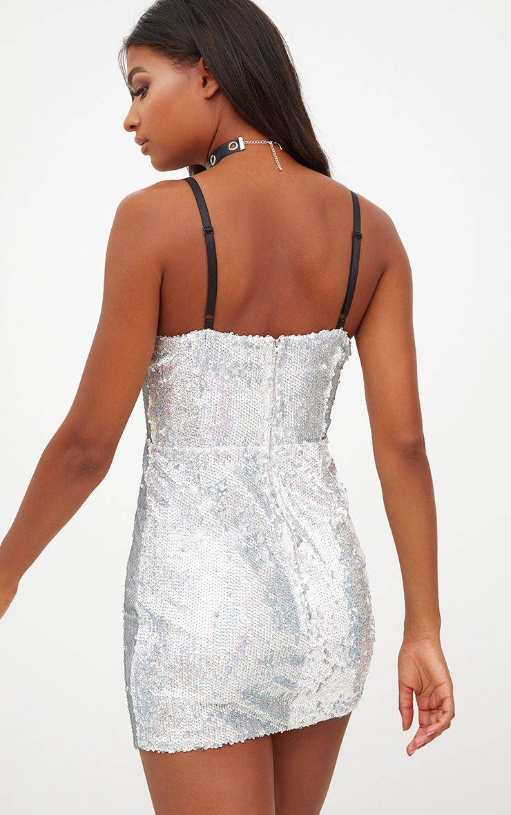 Silver Sequin Contrast Lace Up Front Bodycon Dress 2