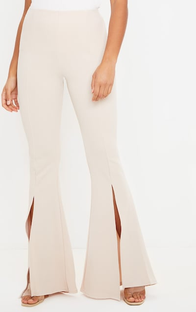 Stone Slit Front Flared Trouser