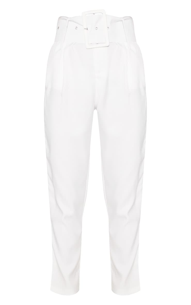 Cream Super High Waisted Belted Tapered Pants 3