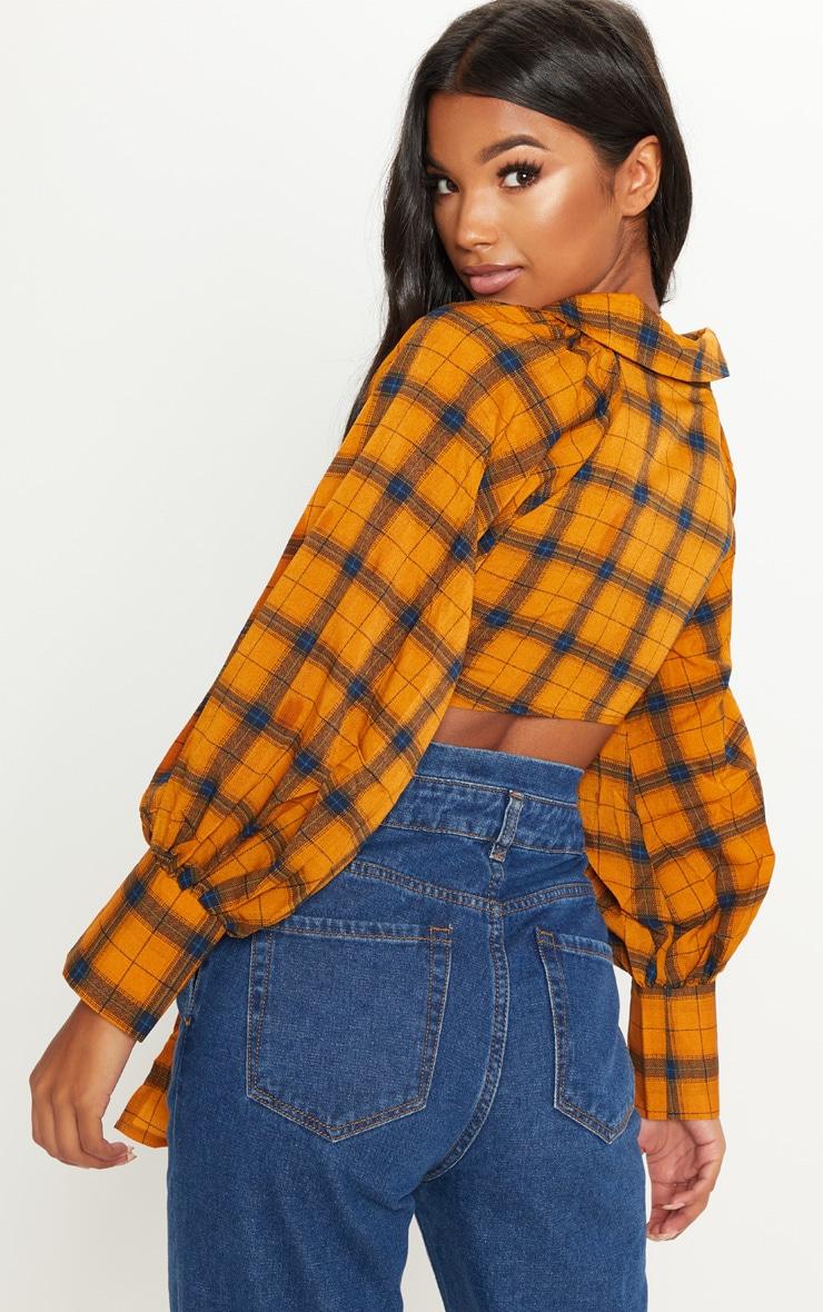 Orange Check Tie Front Shirt 2