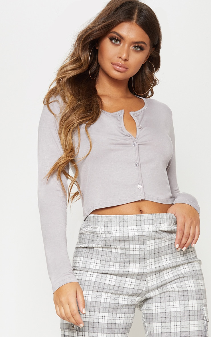 Dove Grey Button Front Long Sleeve Crop Top 1