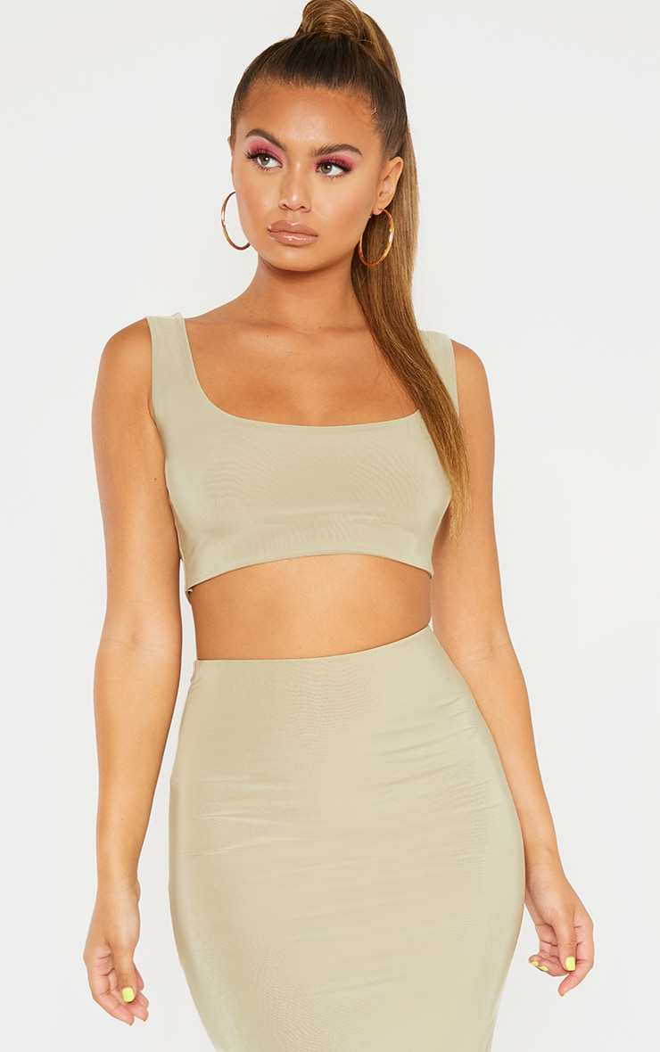 Sage Green Slinky Round Neck Sleeveless Crop Top 1