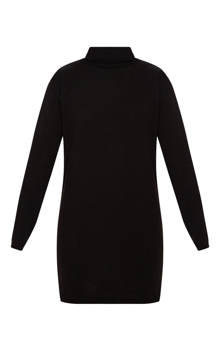 Black High Neck Knitted Jumper Dress 3