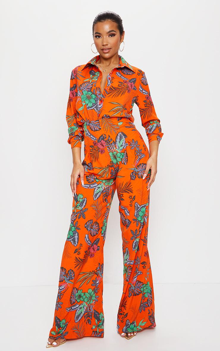Orange Floral Print Wide Leg Pants 1