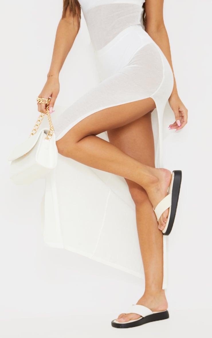 Cream Sheer Knit Collar Detail Maxi Dress 4