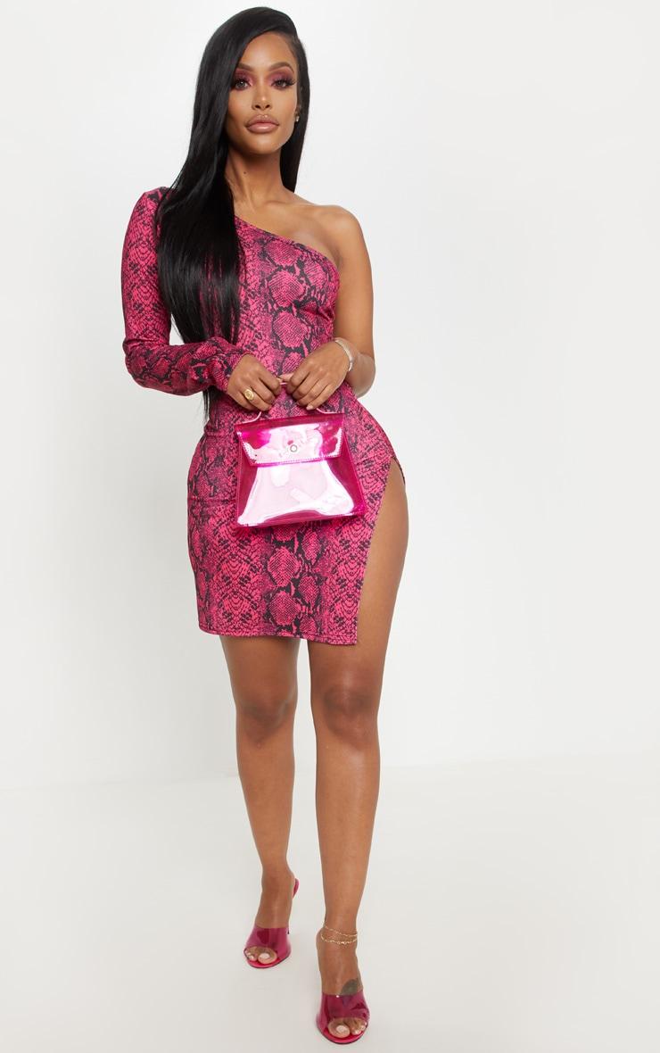 Shape Neon Pink Snake Print One Shoulder Split Bodycon Dress 4