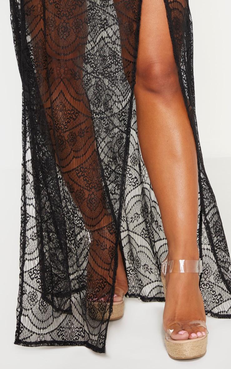 Black Lace Split Maxi Beach Skirt 5