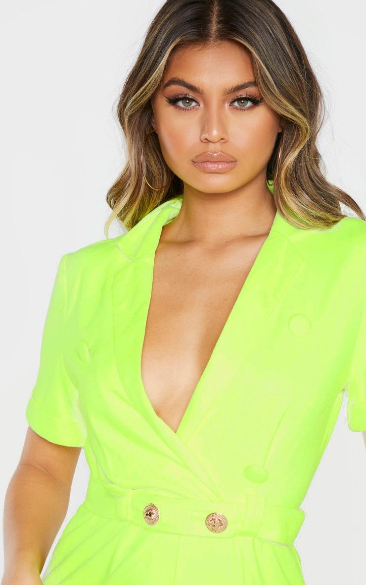 Neon Lime Faux Suede Tie Waist Romper 4
