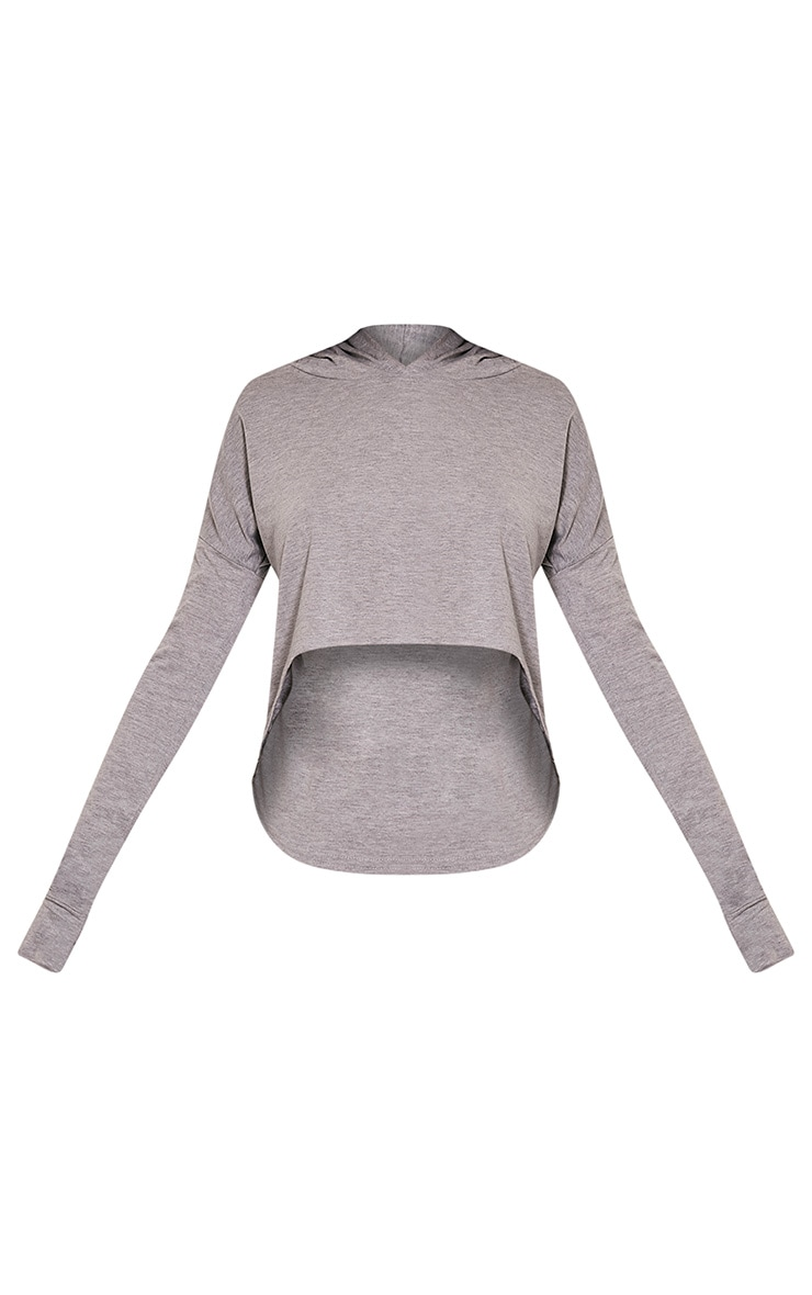 Monah Grey Jersey Cropped Hoodie 3