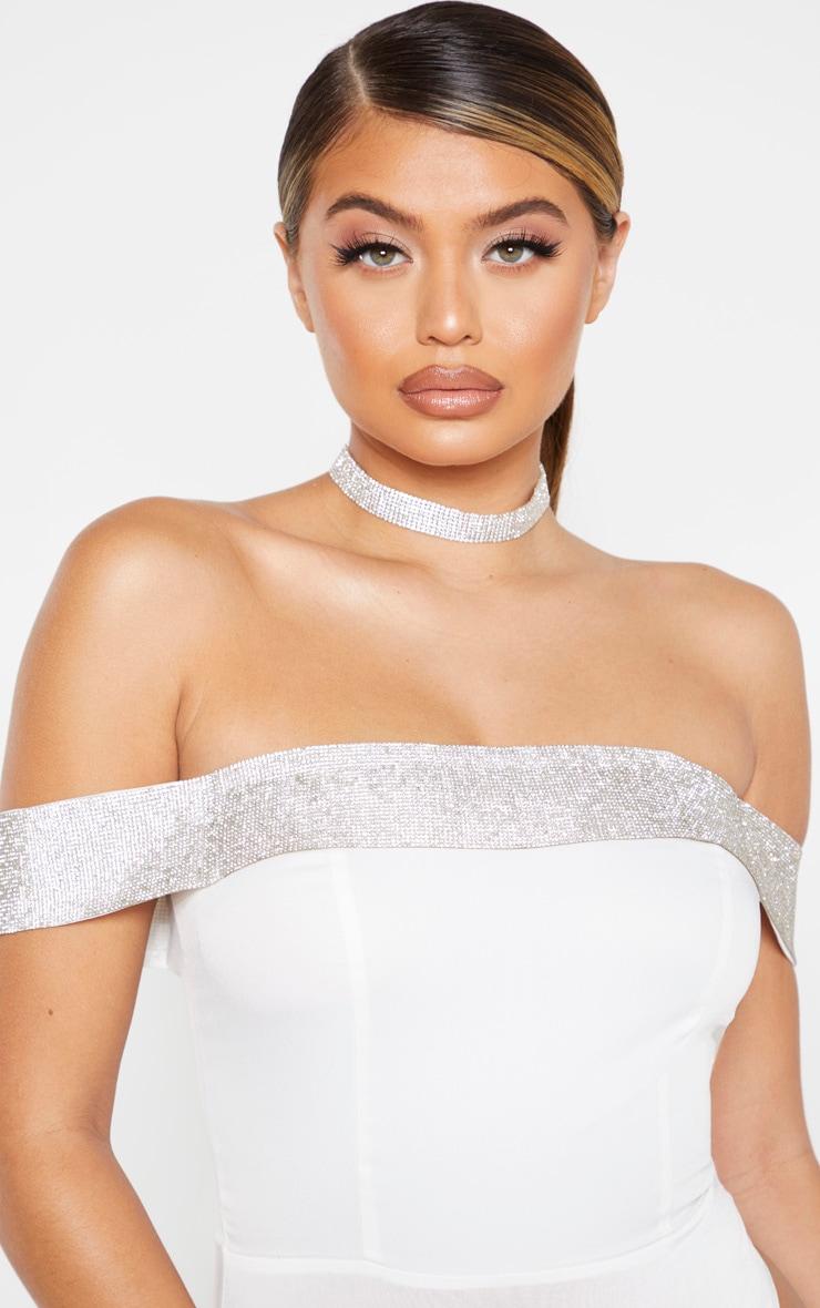 White Woven Diamante Bardot Bodysuit 4