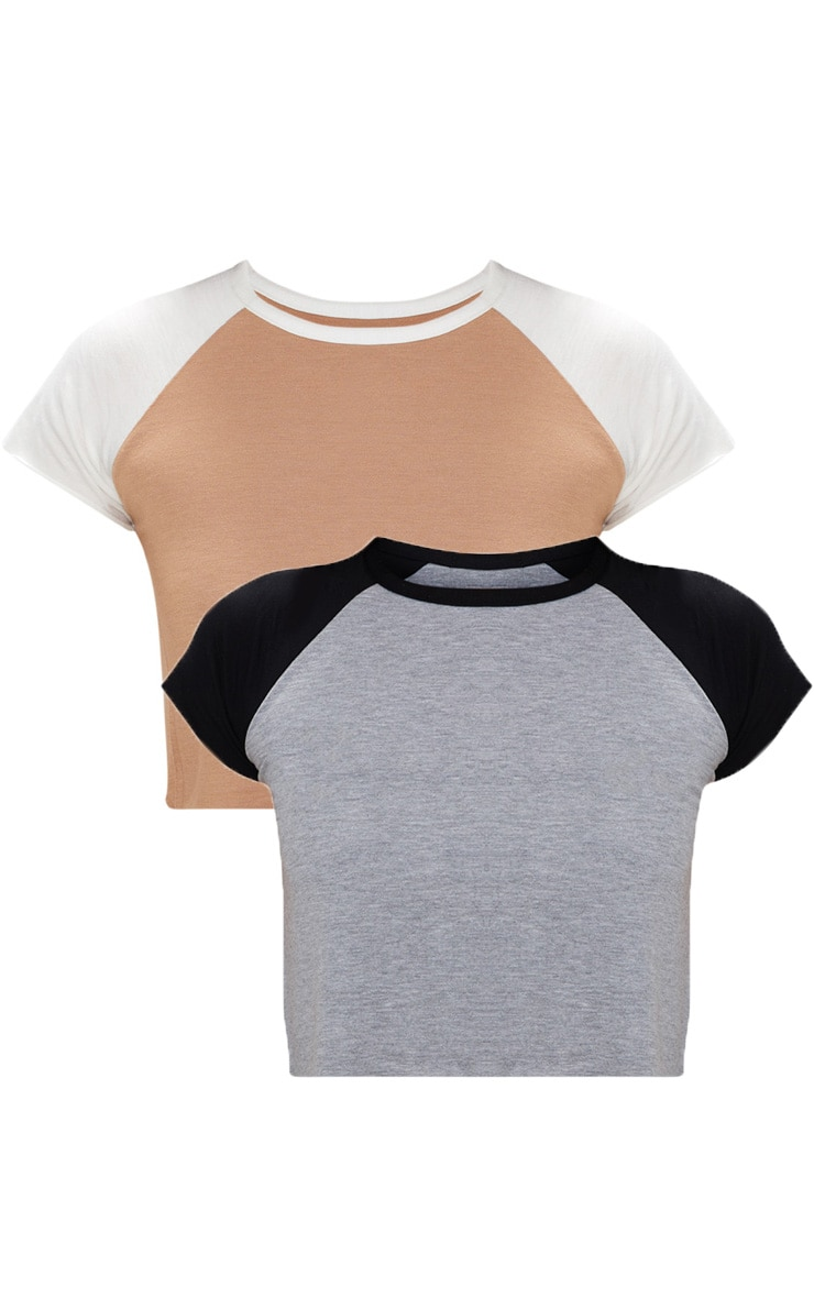 Stone & Grey Contrast Raglan Sleeve Raw Hem Crop Top 2 Pack 3