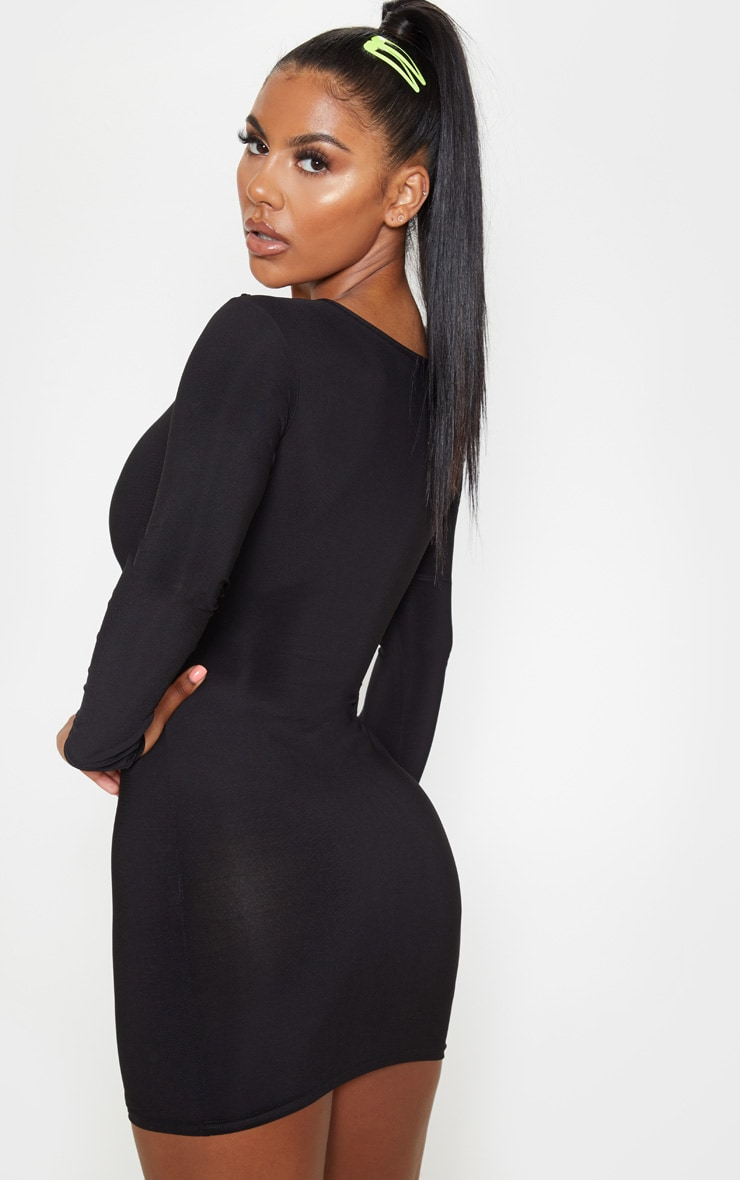 Black Slinky Long Sleeve Bodice Cut Out Bodycon Dress 2