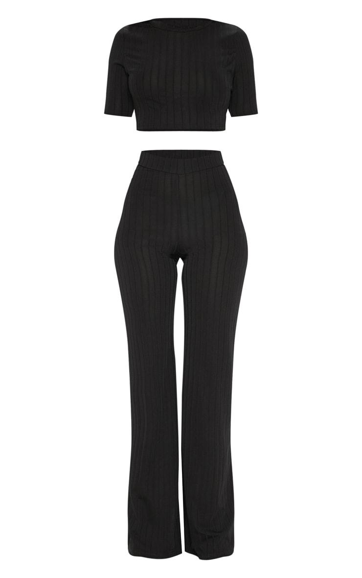 Black Short Sleeve Rib Set 3