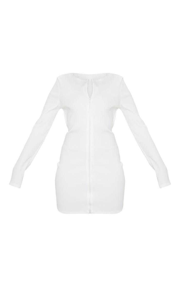 White Jumbo Rib Double Zip Bodycon Dress 3