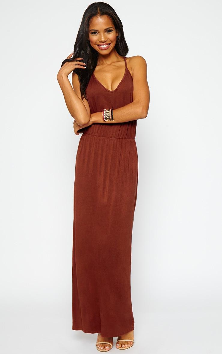 Emillie Rust T-Bar Back Jersey Maxi Dress 4