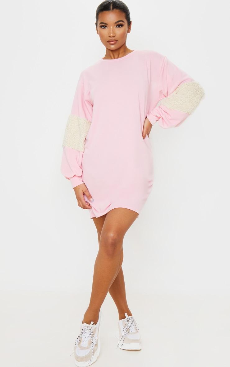 Baby Pink Borg Panel Oversized Sweater Dress 5