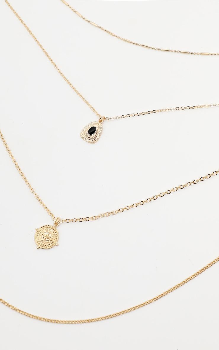 Gold Multi Large Black Gemstone Pendant Necklace   3
