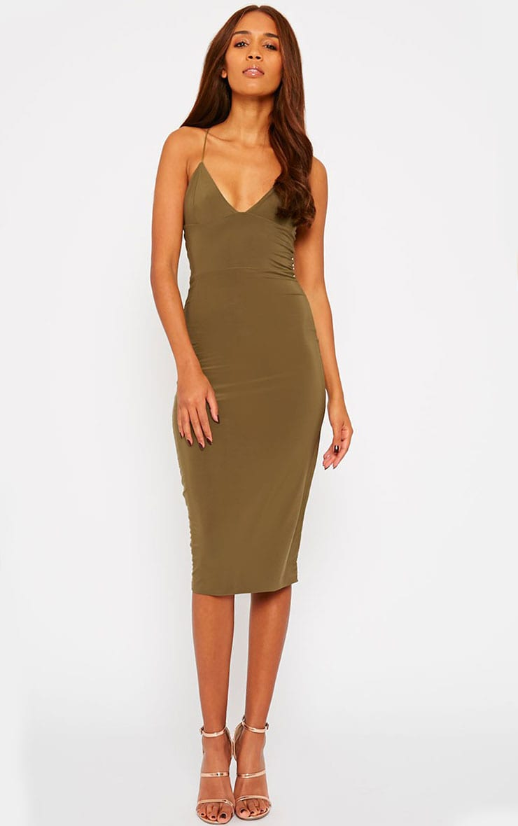 Deanna Khaki Slinky Cross Back Midi Dress 1