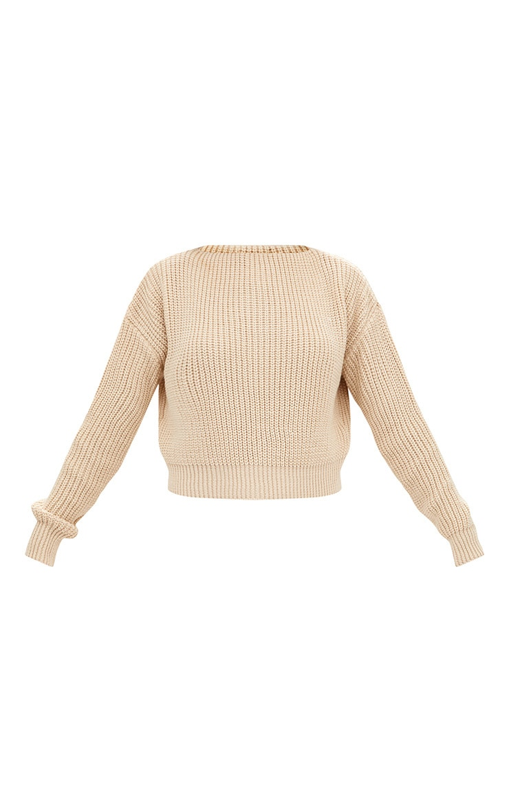 Christiana Stone Mixed Knit Slash Neck Crop Jumper 3