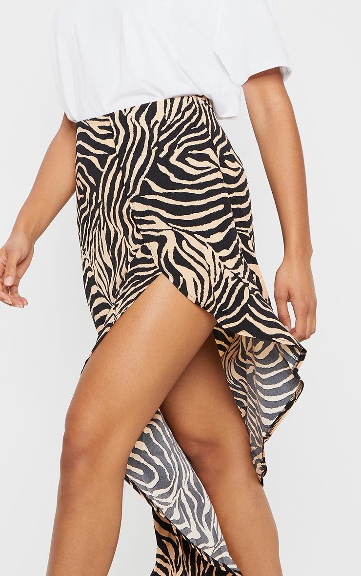 Tan Zebra Print Satin Asymmetric Skirt 4