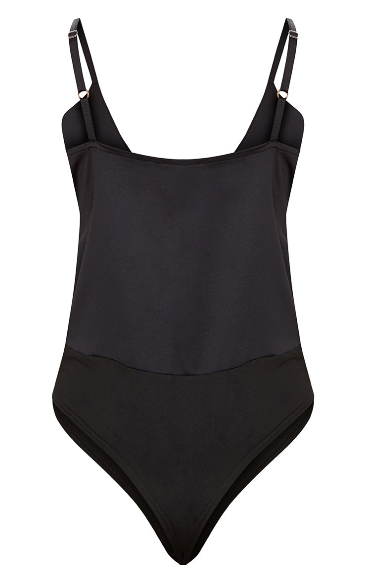 Black Satin Plunge Strappy Thong Bodysuit  4