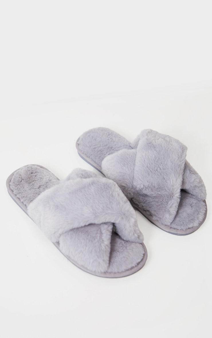 Grey Fluffy Cross Strap Slippers 3