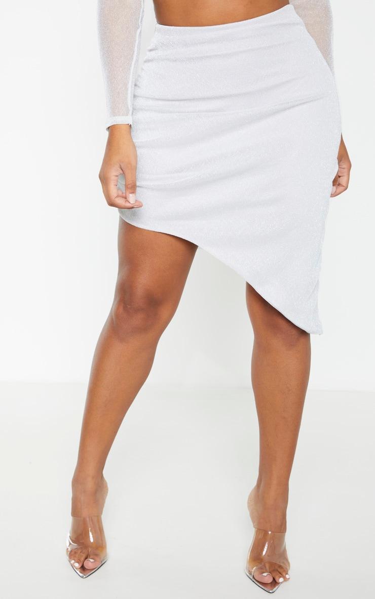 Shape - Jupe moulante froncée argentée en maille métallisée transparente  2