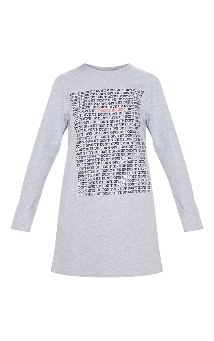 Grey Don't Give Up Oversized Long Sleeve T Shirt Dress 3