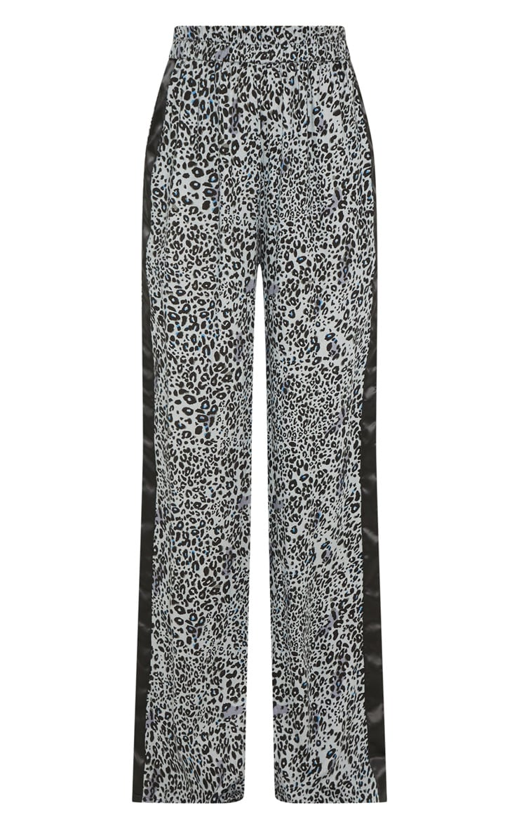 Dusty Blue Elasticated Waist Leopard Print Wide Leg Trouser 3