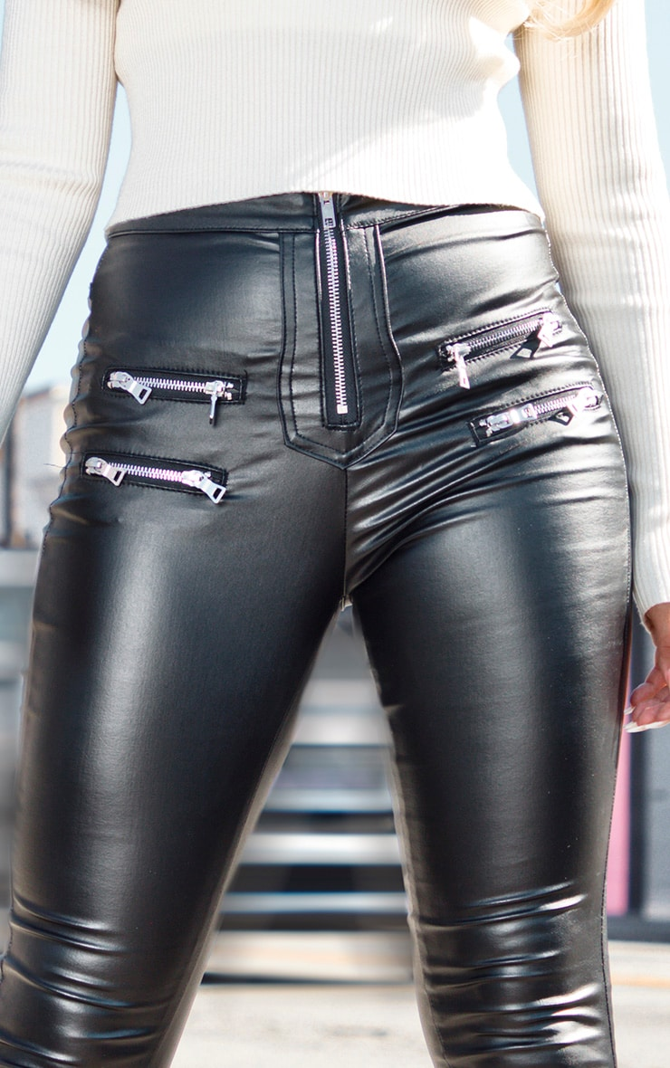 Black Biker Detail Coated Skinny Jeans 5
