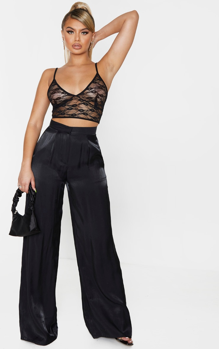 Black Sheer Lace Triangle Bralet 4