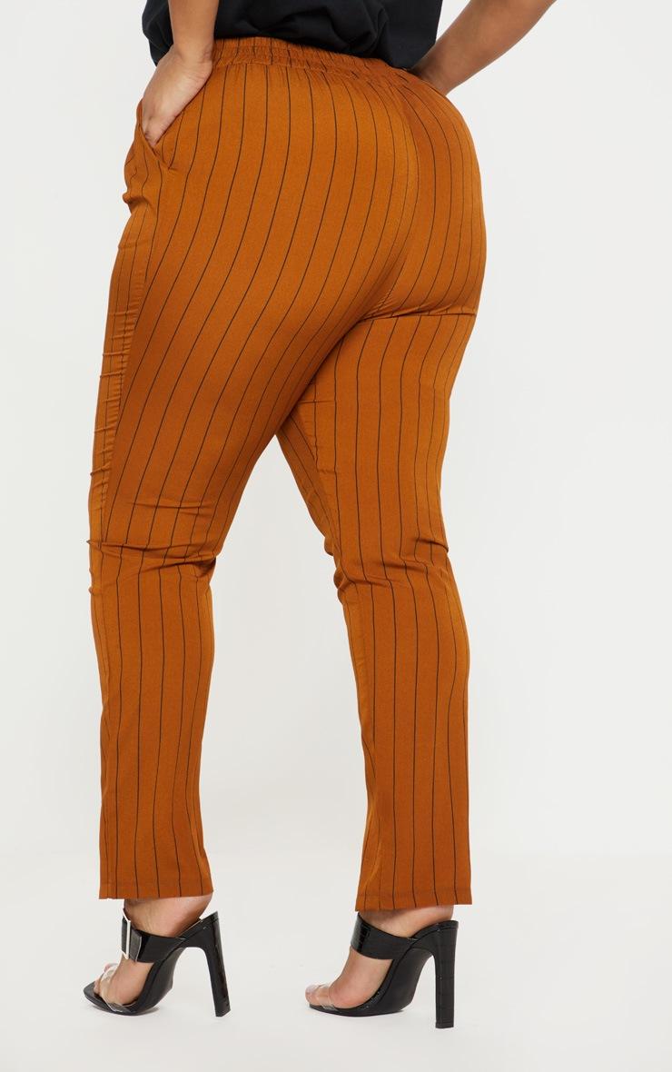 Plus Brown Pinstripe Button Detail Casual Trouser 4
