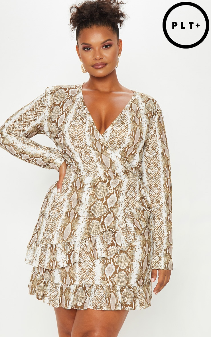 Plus Taupe Snake Print Wrap Dress