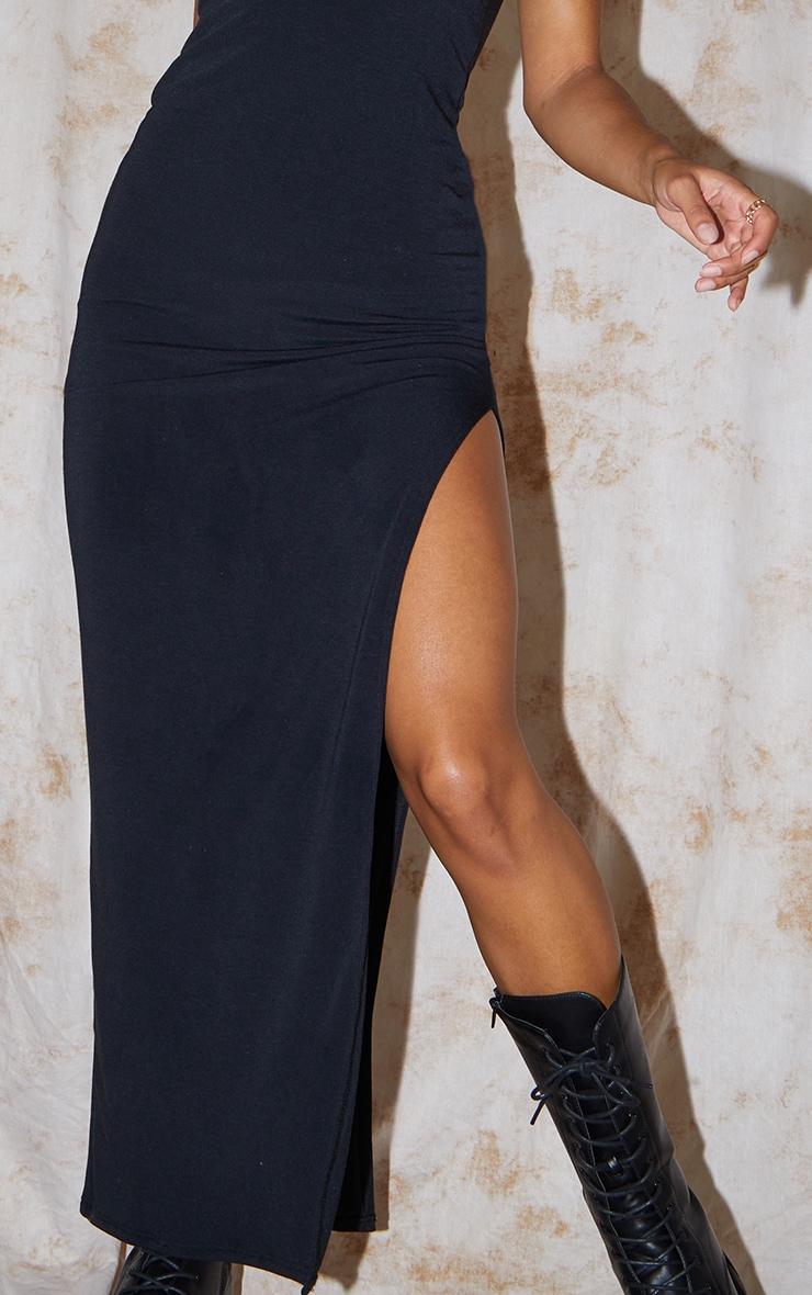 Recycled Black Contour Jersey Racer Neck Split Detail Midaxi Dress 4