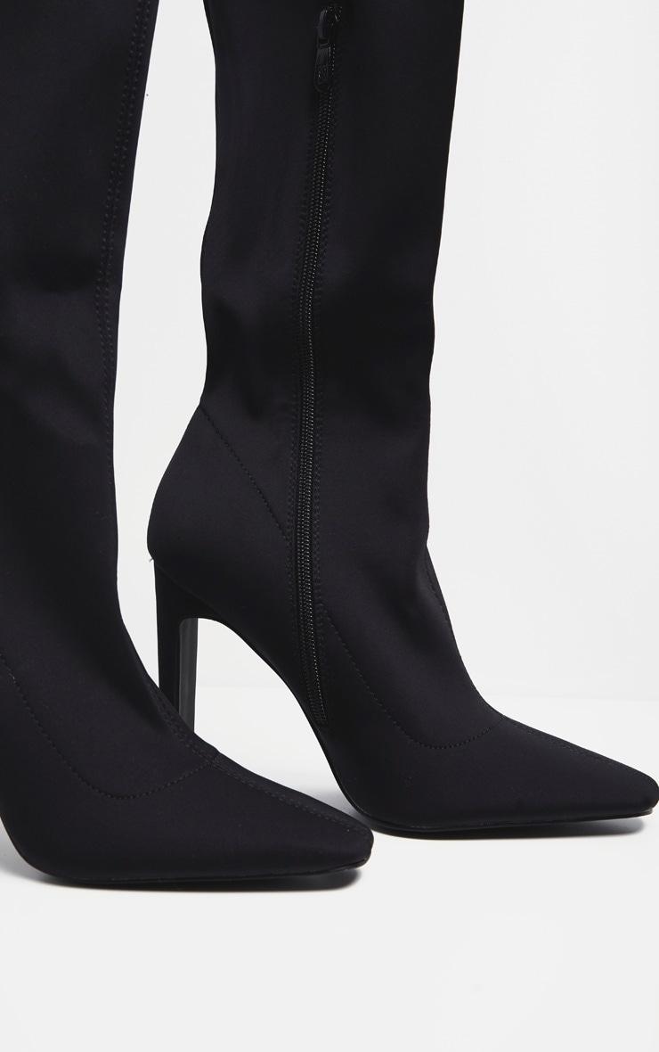 Black Over The Knee Flat Heel Sock Boot  3