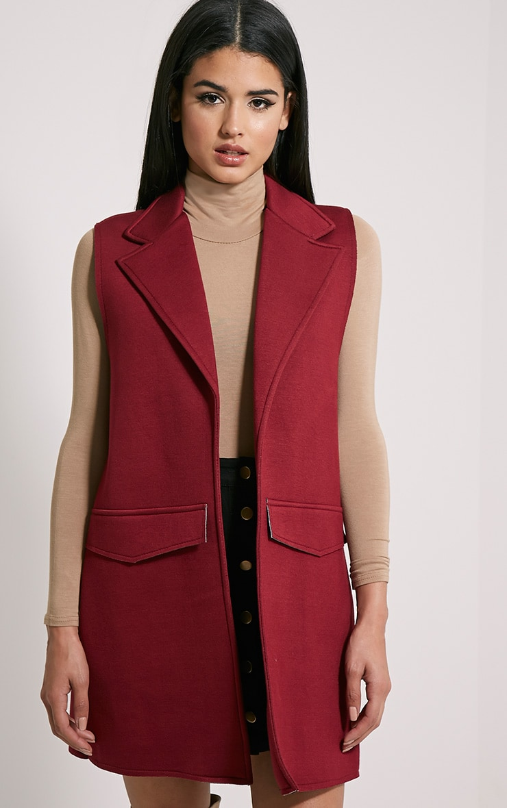 Floria Burgundy Sleeveless Structured Blazer 1