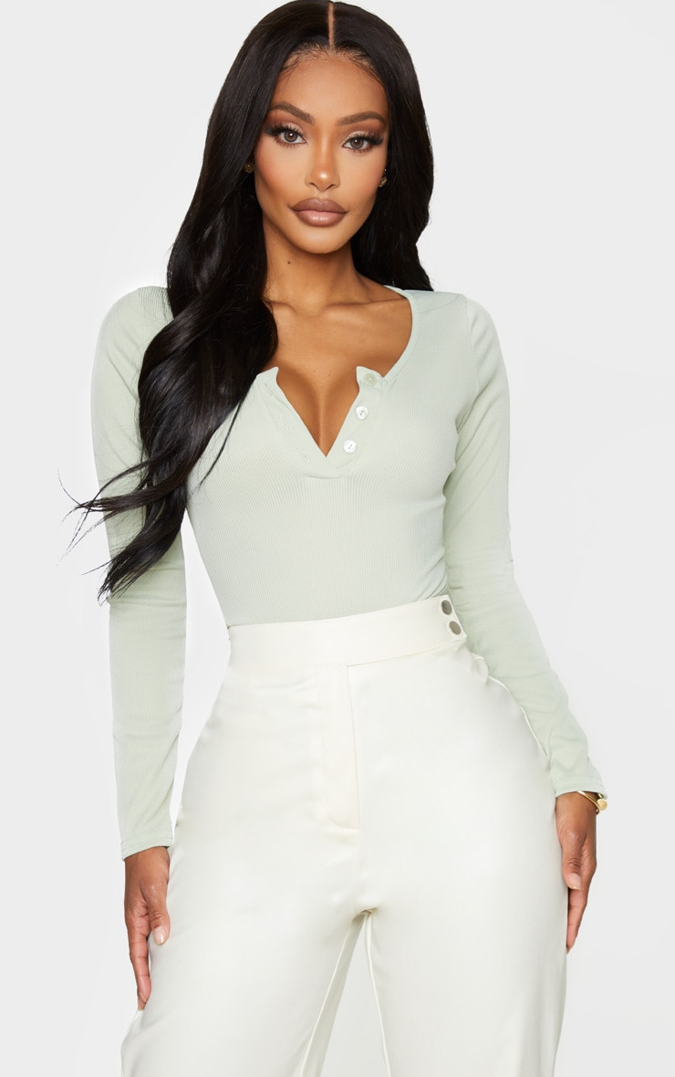 Shape Sage Green Ribbed Long Sleeve Bodysuit 2