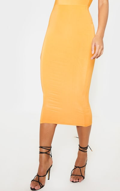 Bright Orange Mix & Match Second Skin Slinky Midaxi Skirt
