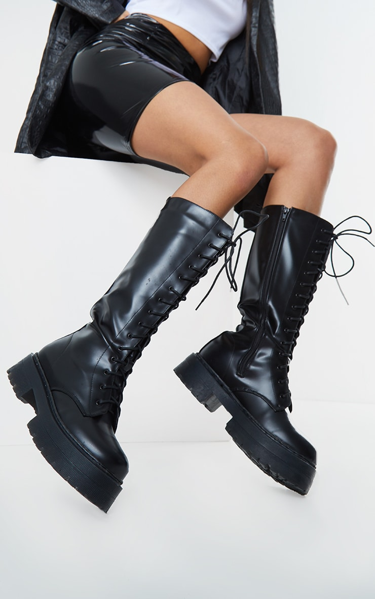 Black PU Patent Double Sole Knee High Lace Up Boots 2