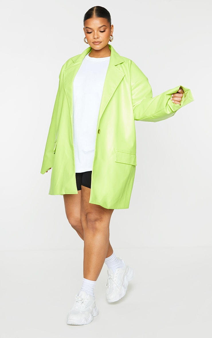 Plus Lime Oversized Button PU Blazer