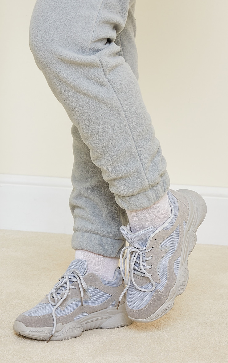 Grey Wide Fit Bubble Sole Lace Up Sneakers 2