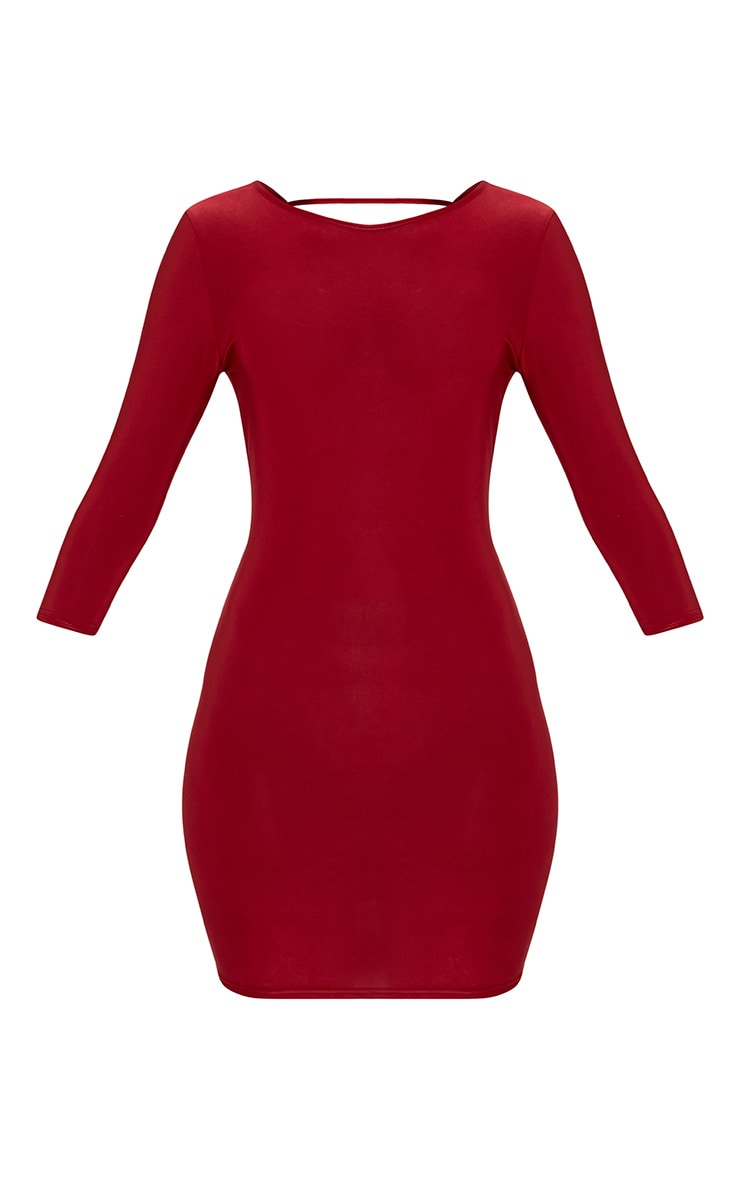 Antonina Burgundy Slinky Ruched Back Bodycon Dress 3