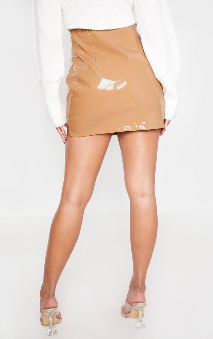 Camel Vinyl Lace Up Mini Skirt 4
