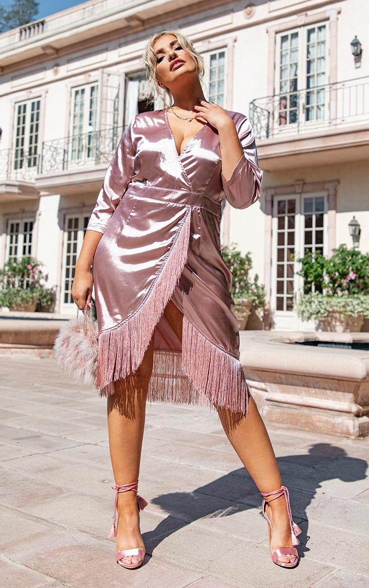 Plus Dusty Pink Satin Wrap Tassel Hem Midi Dress 4