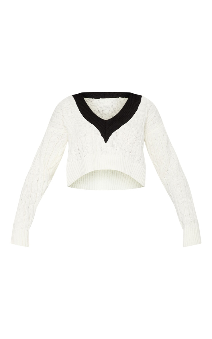White Cable V Neck Knitted Sweater  3